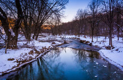 Creek during the winter, in rural York County, Pennsylvania. Stock Images