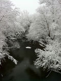 Creek in Winter Snow Scene Royalty Free Stock Photography