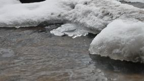Creek in the woods in winter flowing water, small river in the snow nature landscape. Creek in the woods in winter flowing water, small river in snow nature stock footage