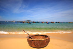 Creel Fishermen boats. Of Phan Rang, Vietnam.  lying on the sand Stock Photo