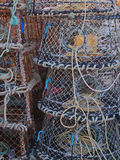Creels Stacked on a Quayside Stock Image