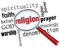 Creencia de la fe de la espiritualidad de dios de la lupa de la palabra de la religión Fotografía de archivo libre de regalías