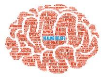 Creencias curativas Brain Word Cloud Imágenes de archivo libres de regalías
