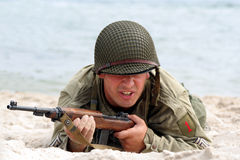 Creeping American Soldier. In a military show from second world war royalty free stock photo