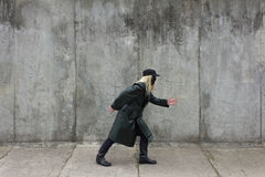 Creeping Blonde masked woman Royalty Free Stock Photos