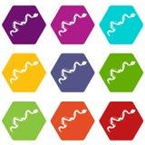 Creeping snake icon set color hexahedron Royalty Free Stock Photos