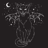 Creepy black cat with monster wings over night sky  Royalty Free Stock Photo