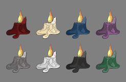 Creepy candles. Colored set of line-art creepy spooky candle-ends Stock Photos