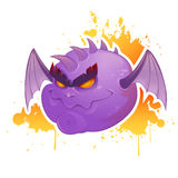 Creepy cartoon evil demon with bat wings Royalty Free Stock Photo