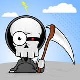 Creepy Cartoon Grim Reaper. A little cartoon grim reaper with a scythe and a creepy red eye Stock Photo