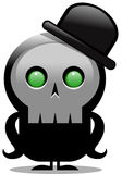 Creepy cartoon skull character with bowler hat over white Stock Image