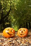 Creepy carved pumpkin face Royalty Free Stock Photos