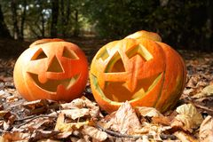 Creepy carved pumpkin face Royalty Free Stock Image
