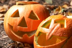 Creepy carved pumpkin face Stock Photo