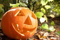 Creepy carved pumpkin face Stock Photos