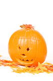 Creepy carved pumpkin face Stock Photos