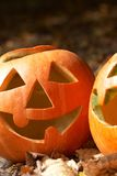 Creepy carved pumpkin face Royalty Free Stock Photo