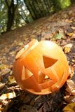 Creepy carved pumpkin face Stock Image