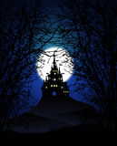 Creepy castle background. Mystery castle in silhouette mood Stock Images