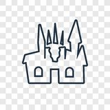Creepy castle concept vector linear icon on transparent stock illustration