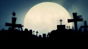 Creepy Cemetery at Full Moon Night with Ravens stock footage