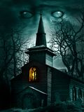 Creepy church and old trees stock illustration