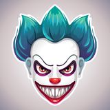 Creepy clown mask. Vector angry Joker head illustration Stock Photo
