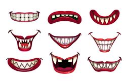 Free Creepy Clown Mouths Set. Scary Smile With Jaws And Red Lips. Stock Photos - 157695423