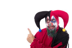 Creepy Clown showing on copyspace,  on white Royalty Free Stock Image