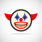 Creepy clown smiley. Creepy clown. Evil scary halloween monster, joker character.  vector illustration Stock Photography