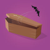 Creepy comic bat is flying out from a coffin. Clipart of a creepy comic bat is flying out from a coffin Stock Image