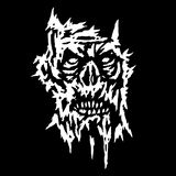 Creepy demon face. Vector illustration. Genre of horror. Scary character face icon. Black and white picture Royalty Free Stock Photo