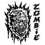 Creepy demon head. Vector illustration. Black and white colors. Horror genre Stock Photos