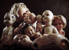 Creepy dolls. Group of vintage creepy dolls Stock Photos