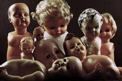 Creepy dolls. Group of vintage creepy dolls Stock Photography