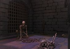 A creepy dungeon with a threaten skeleton. A creepy dungeon with a threaten skeleton, and bones in the floor royalty free illustration