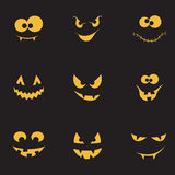 Creepy faces set. Set of spooky and crazy pumpkins, ghosts and monsters faces in the dark for Halloween design Stock Images