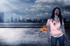 Creepy female zombie Stock Images