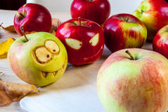 Creepy and funny monsters of apples Stock Image