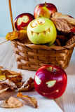 Creepy and funny monsters of apples Stock Photo