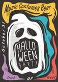 Creepy ghost Halloween party invitation Royalty Free Illustration