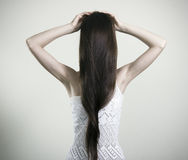 Creepy girl with long hair. Stock Images