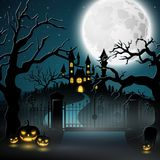 Creepy graveyard with castle and pumpkins. Illustration of Creepy graveyard with castle and pumpkins Royalty Free Stock Images