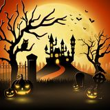 Creepy graveyard with castle and pumpkins. Illustration of Creepy graveyard with castle and pumpkins Royalty Free Stock Photo