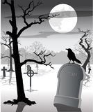 Creepy graveyard royalty free illustration