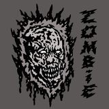 Creepy gray zombie head. Vector illustration. Royalty Free Stock Image