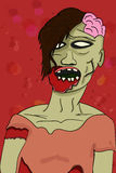 Creepy grey illustrated colorful zombie in cartoon style with vi Royalty Free Stock Photography