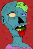 Creepy grey illustrated colorful zombie in cartoon style with vi Royalty Free Stock Image