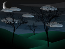 Creepy grim bare tree night scene half moon Stock Images