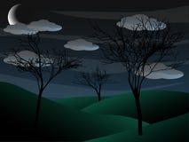 Creepy Grim Bare Tree Night Scene Half Moon Stock Images